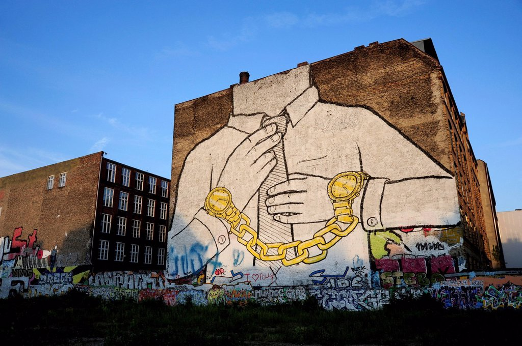 Street art by the artist Blu, graffiti on a house in Kreuzberg Schlesisches Tor, Berlin, Germany, Europe : Stock Photo