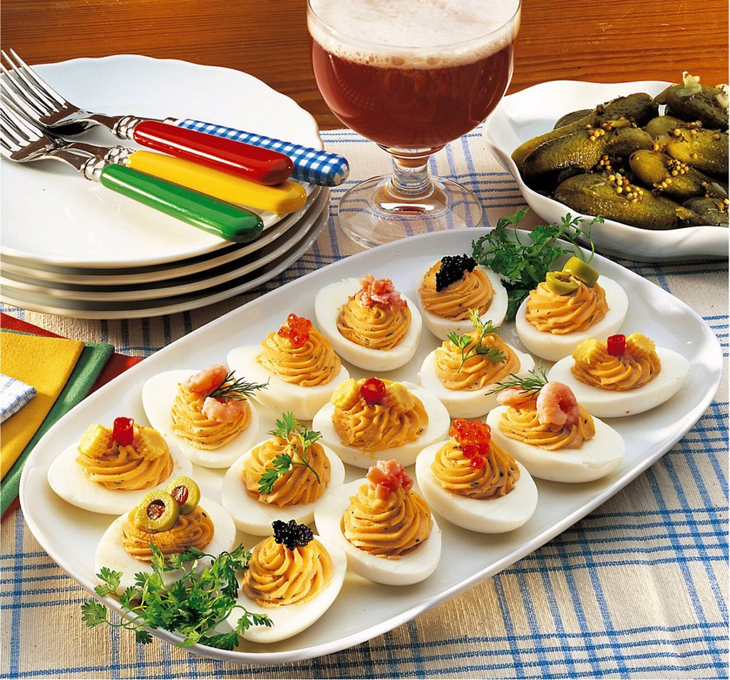 Stock Photo: 1848-702758 Berlin eggs with ham stuffing, Germany, recipe available for a fee