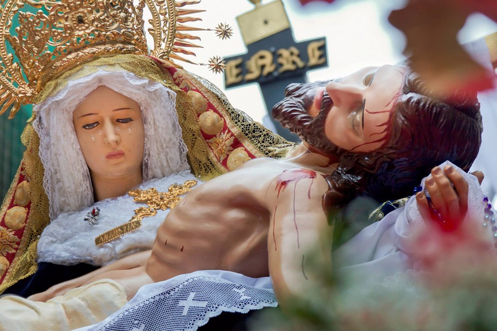 Stock Photo: 1848-702981 Mary and Jesus, Good Friday procession in Barcelona, Semana Santa, Holy Week, Barcelona, Spain, Europe