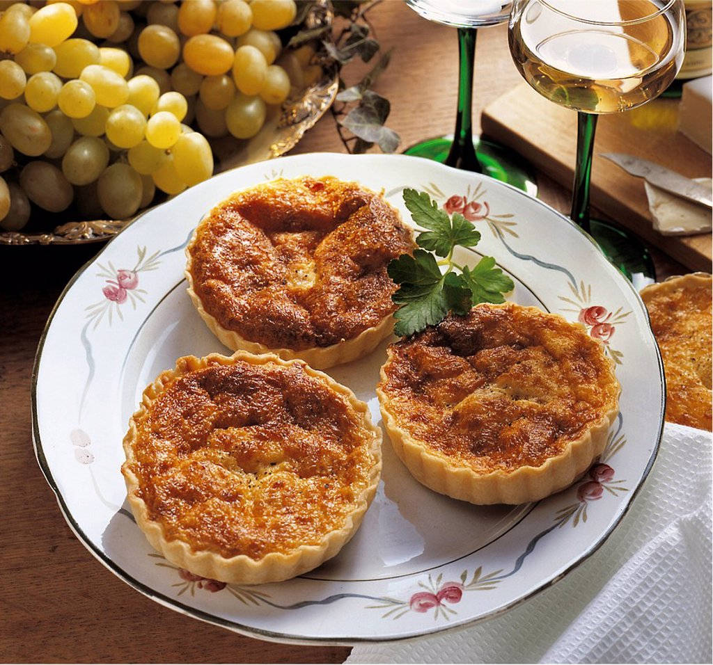 Stock Photo: 1848-703226 Little quiches Lorraines, France, recipe available for a fee
