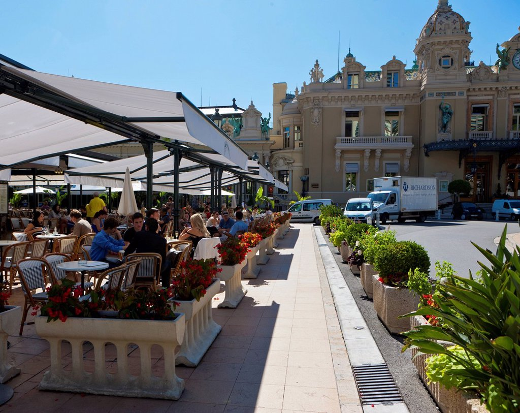 Stock Photo: 1848-703380 Cafe de Paris, Place du Casino, Monte Carlo, principality of Monaco, Monaco, Europe, PublicGround