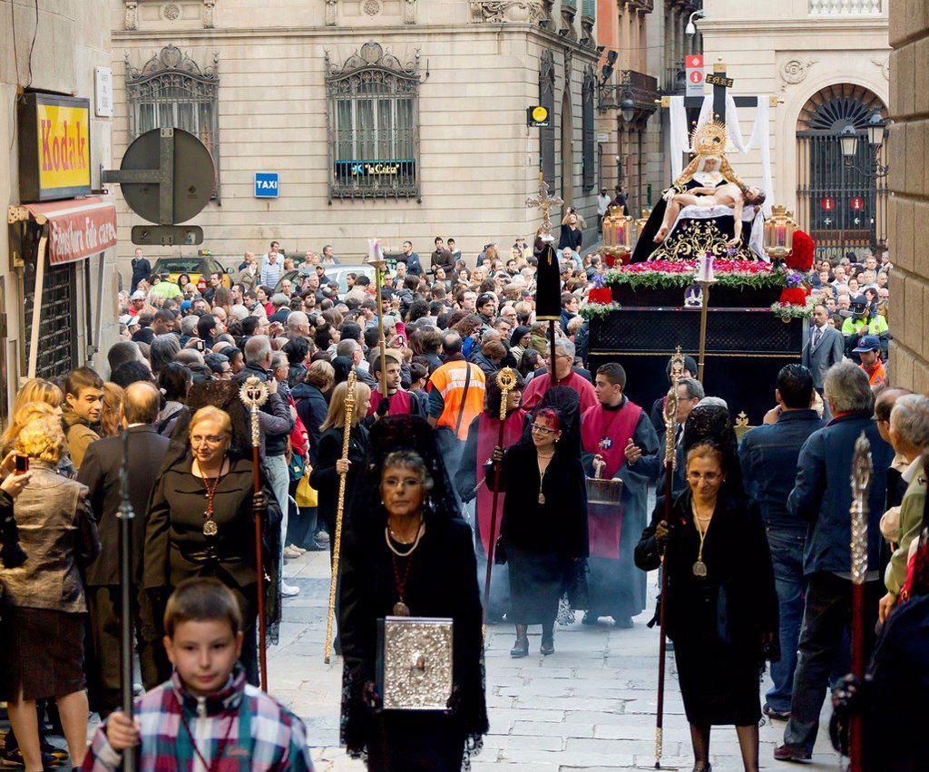 Good Friday procession, Semana Santa, Holy Week, Barcelona, Catalonia, Spain, Europe : Stock Photo