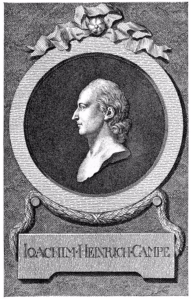 Historical illustration from the 19th century, portrait of Joachim Heinrich Campe, 1746 _ 1818, a German writer of the Enlightenment, linguist, educator and publisher : Stock Photo