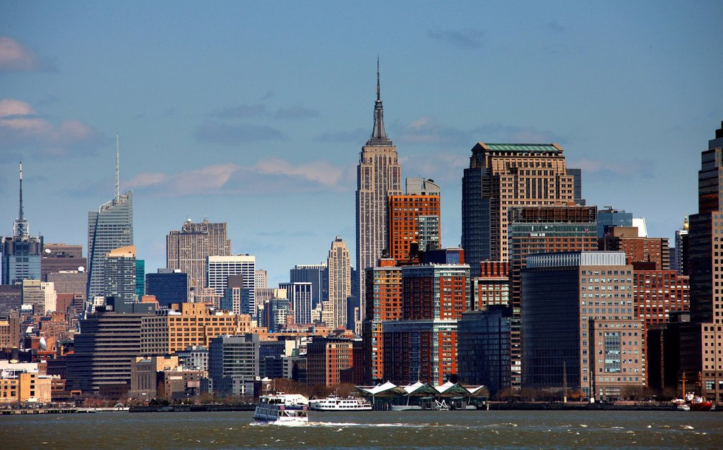 Stock Photo: 1848-703513 Manhattan skyline seen from Liberty Island, New York City, New York, United States, North America