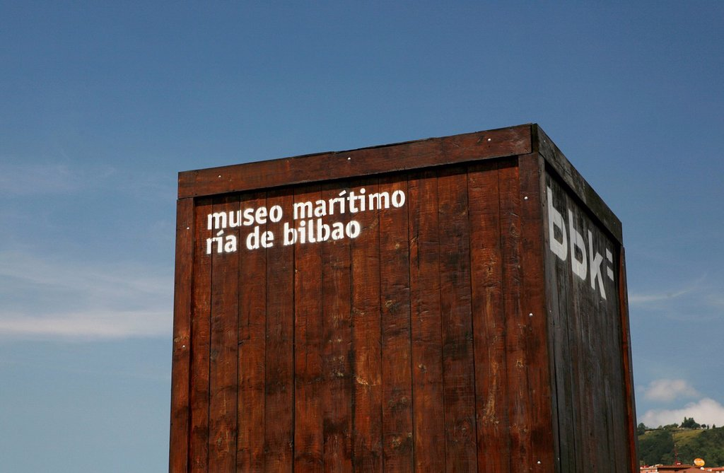 Container as signage, Maritime Museum, Bilbao, Basque Country, northern Spain, Spain, Europe : Stock Photo