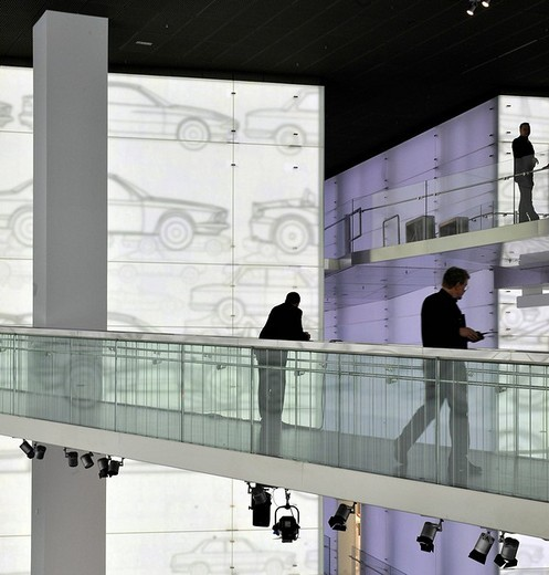 Stock Photo: 1848-70363 People in front of a projection at the BMW museum, Munich, Bavaria, Germany, Europe