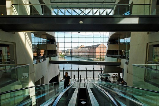 The Royal Library, the National Library of Denmark and Copenhagen University Library, Den Sorte Diamant, the Black Diamond, Copenhagen, Denmark, Scandinavia, Europe : Stock Photo
