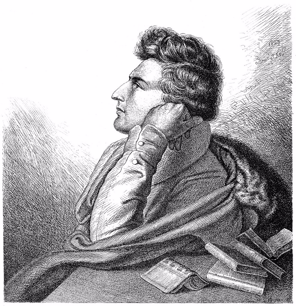 Stock Photo: 1848-703954 Historical illustration from the 19th century, portrait of Christian Johann Heinrich Heine, 1797 _ 1856, a German poet, writer and journalist