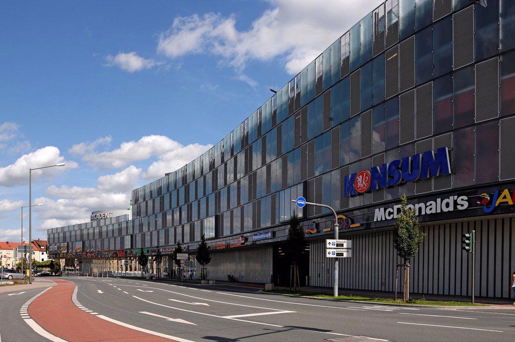 Modern facade of Erlangen Arcaden, shopping centre, Erlangen, Middle Franconia, Bavaria, Germany, Europe : Stock Photo