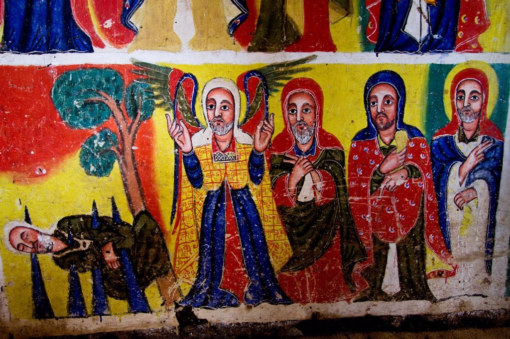 Colourful scene from the Bible, Bet Maryam Monastery, Bahir Dar, Ethiopia, Africa : Stock Photo
