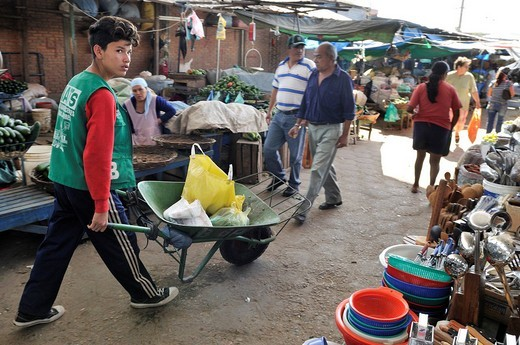 Child labour, boy transporting customers´ purchases using a wheel barrow at the local market, Santa Cruz, Bolivia, South America : Stock Photo