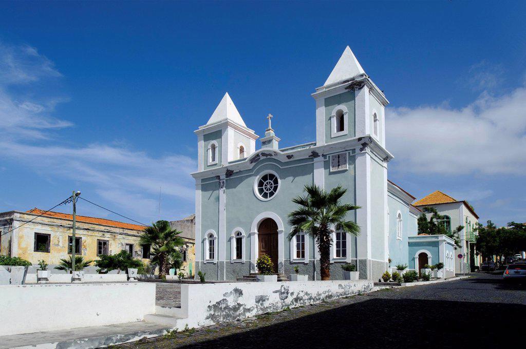Igreja Nossa Senhora da Conceicao church, Sao Filipe, Fogo, Cape Verde, Africa : Stock Photo
