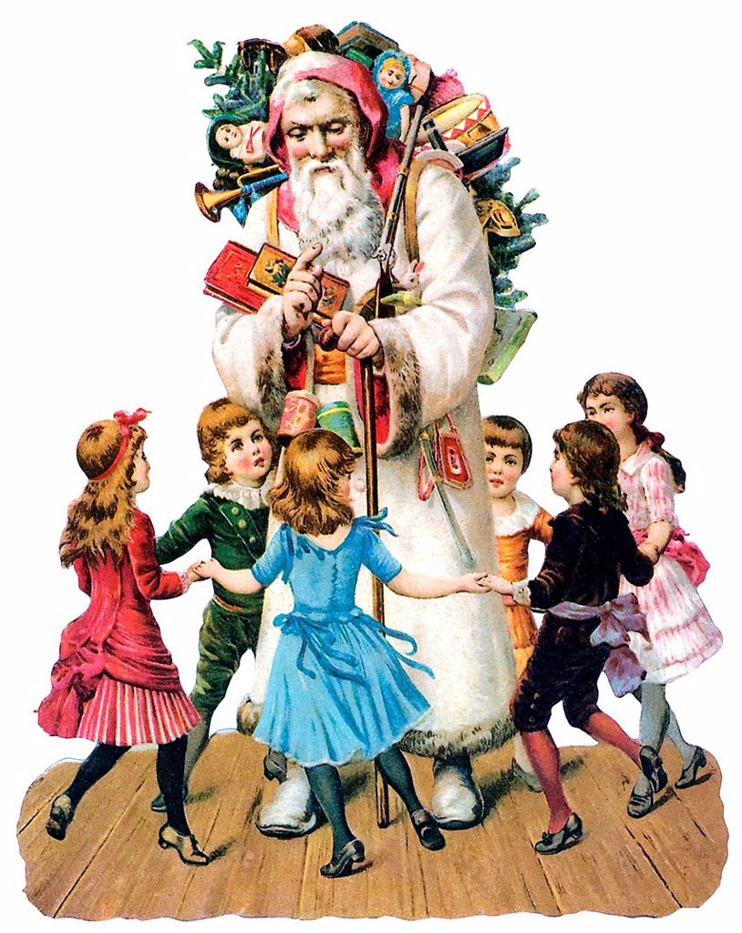 Children dancing around Santa Claus, historical illustration : Stock Photo
