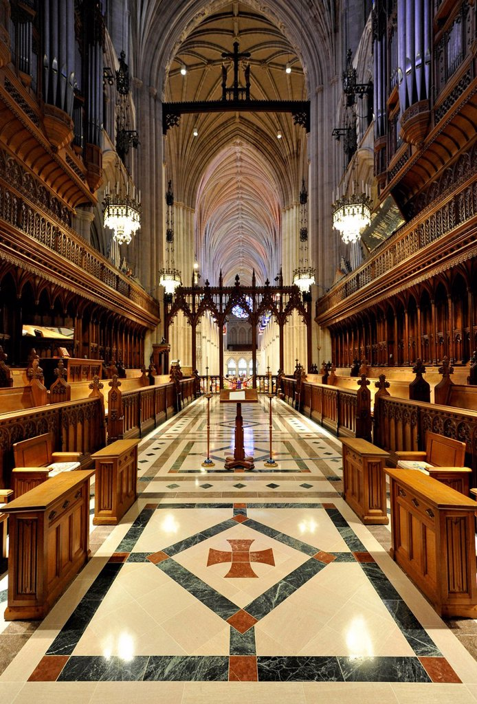 Choir area, Washington National Cathedral or Cathedral Church of Saint Peter and Saint Paul in the diocese of Washington, Washington, DC, District of Columbia, United States of America, USA : Stock Photo