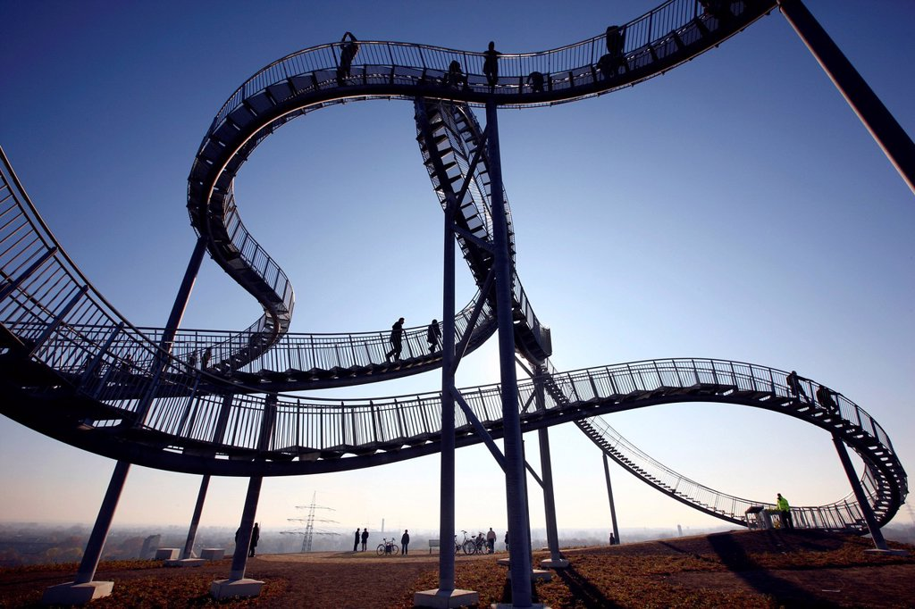 Stock Photo: 1848-705163 Tiger & Turtle – Magic Mountain, a walkable landmark sculpture in the shape of a roller coaster, by Heike Mutter and Ulrich Genth, on Heinrich_Hildebrand_Hoehe, mining waste tip, Angerpark, Duisburg, North Rhine_Westphalia, Germany, Europe