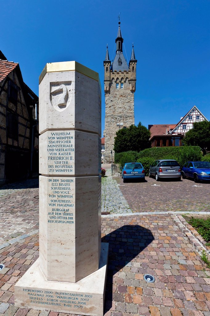 The Blue Tower, western keep of the former Staufen Imperial Palace, historic town centre of Bad Wimpfen, Neckartal, Baden_Wuerttemberg, Germany, Europe, PublicGround : Stock Photo