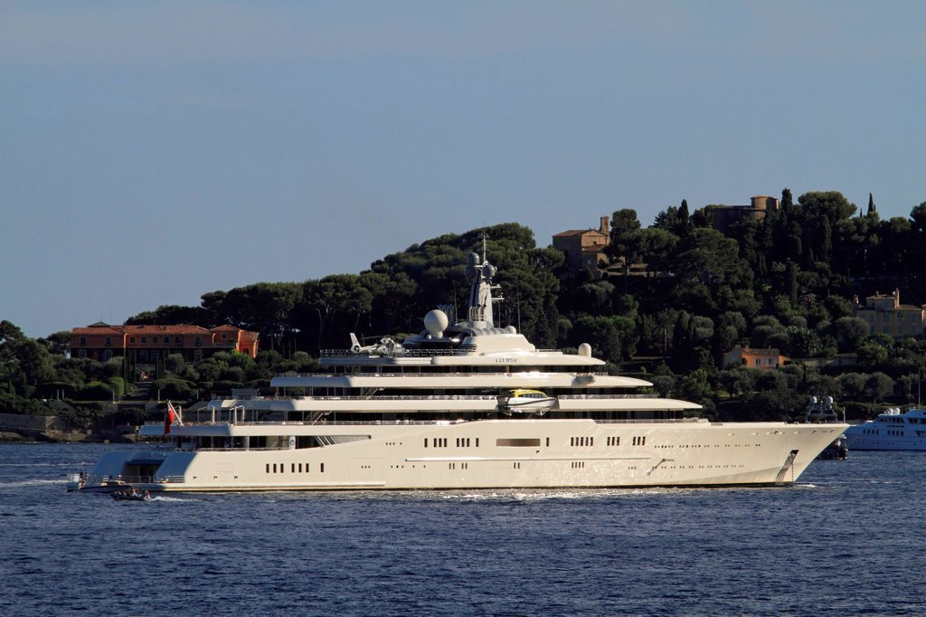Luxury motor yacht Eclipse, longest yacht in the world, as of 2012, c 163m long, owned by Roman Abramovitch, built by shipyard Blohm + Voss GmbH, delivery 2010 : Stock Photo