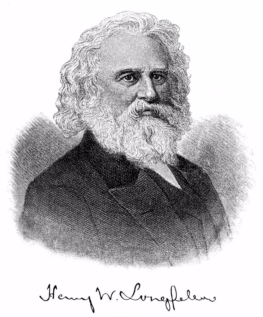 Historical engraving from 19th Century, portrait of Henry Wadsworth Longfellow, 1807_1882, American writer, poet, translator and playwright : Stock Photo