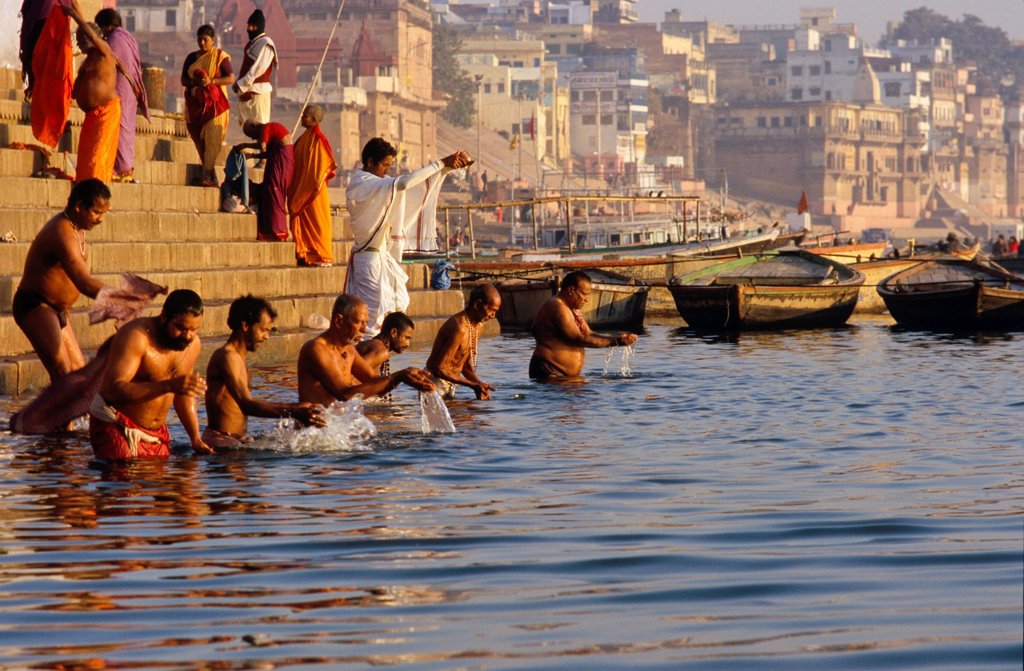 Stock Photo: 1848-705443 The ghats are busy with pilgrims every morning, Varanasi, Uttar Pradesh, India, Asia