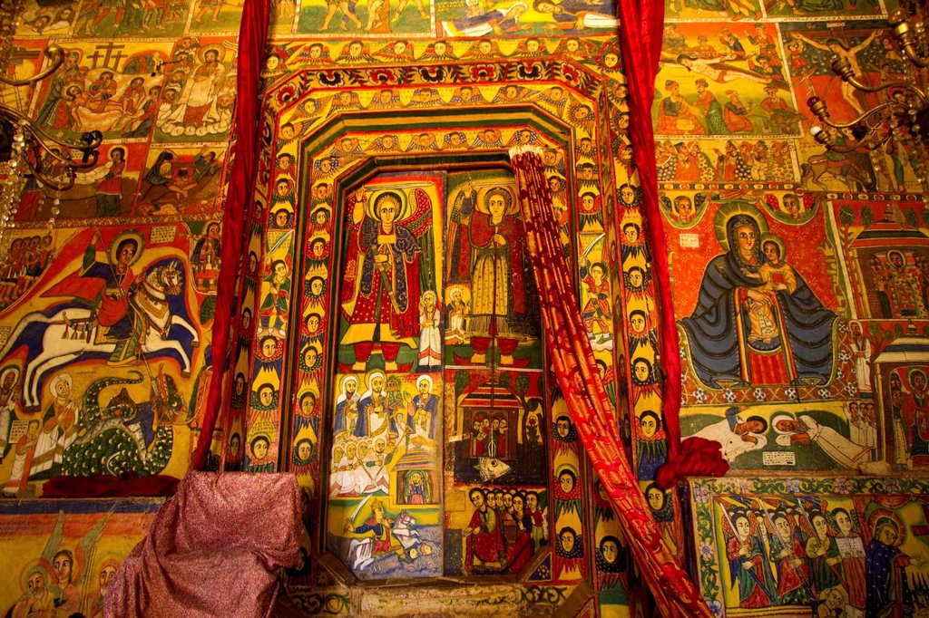 Stock Photo: 1848-705497 Colourful scenes from the Bible, Bet Maryam Monastery, Bahir Dar, Ethiopia, Africa