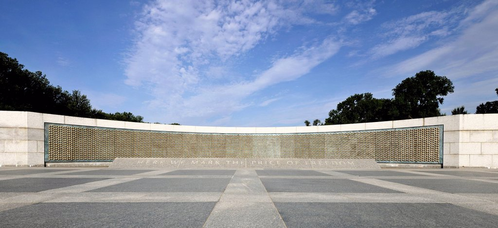 Memorial Wall ´´The Price of Freedom´´ with 4048 stars in honour of U.S. soldiers, National World War II Memorial, WWII Memorial or Second World War Memorial, Washington DC, District of Columbia, United States of America, PublicGround : Stock Photo