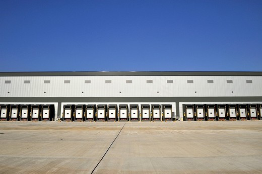 A transport warehousing distribution centre at Hoddesdon, Hertfordshire, United Kingdom, Europe : Stock Photo