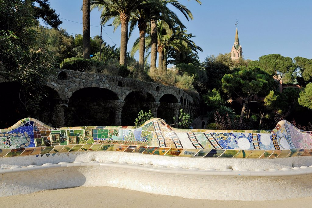Stock Photo: 1848-706382 Wave_shaped bank with ceramic mosaics by Josep Maria Jujol, La Placa, Park Gueell, designed by Antoni Gaudí, UNESCO World Cultural Heritage Site, Barcelona, Catalonia, Spain, Europe