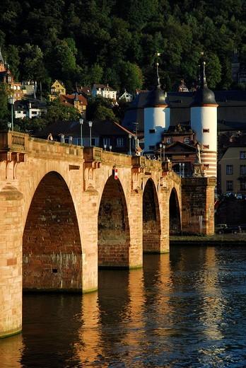Alte Bruecke, ´Old Bridge´, over Neckar River, old city, Heidelberg, Neckar Valley, Baden_Wuerttemberg, Germany, Europe : Stock Photo