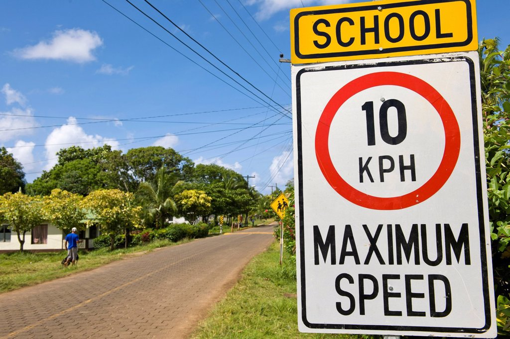 English_language road signs in front of a school, Big Corn Island, Caribbean Sea, Nicaragua, Central America : Stock Photo