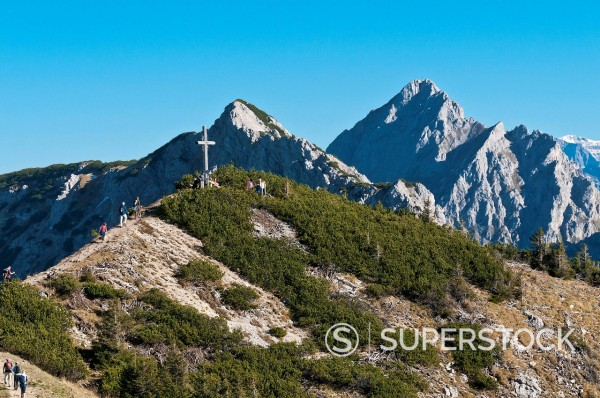 Stock Photo: 1848-706668 Mt Sebenspitze, 1938m, at Graener high altitude trail, west of Fuessener Joechle mountain station, Mt Kellenspitze or Koellenspitze at back, Tannheimer Tal valley, Tyrol, Austria, Europe