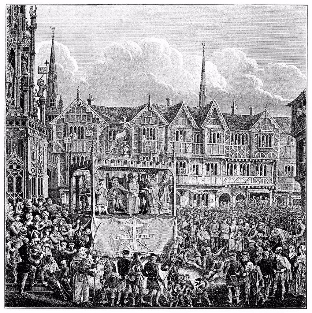 Stock Photo: 1848-706681 Historical engraving from the 19th Century, old English passion play or miracle performance, religious theatrical performance in a public space