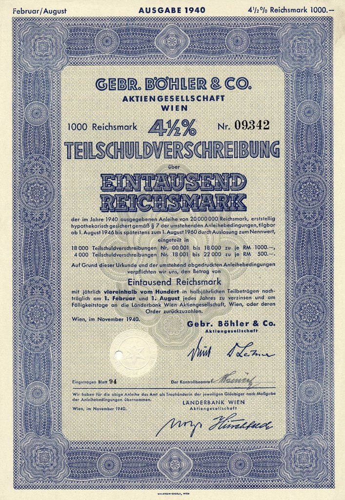 Stock Photo: 1848-706836 Historical share certificate, Gebr Boehler & Co AG, Vienna, debenture over 1000 Reichsmark, stainless and steel tool manufacturer, 1940, Vienna, Austria, Europe