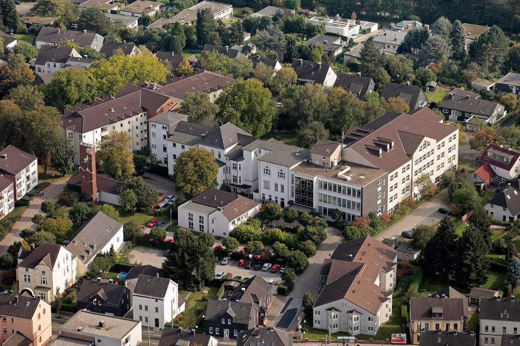 Aerial view, Augusta_Kranken_Anstalt GmbH Linden hospital, also known as Linden Hospital, Bochum, Ruhr area, North Rhine_Westphalia, Germany, Europe : Stock Photo