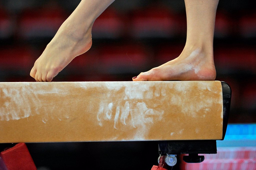 Stock Photo: 1848-706962 Feet on a balance beam, EnBW Gymnastics World Cup, 11 to 13 Nov 2011, 29th DTB Cup, Porsche_Arena, Stuttgart, Baden_Wuerttemberg, Germany, Europe