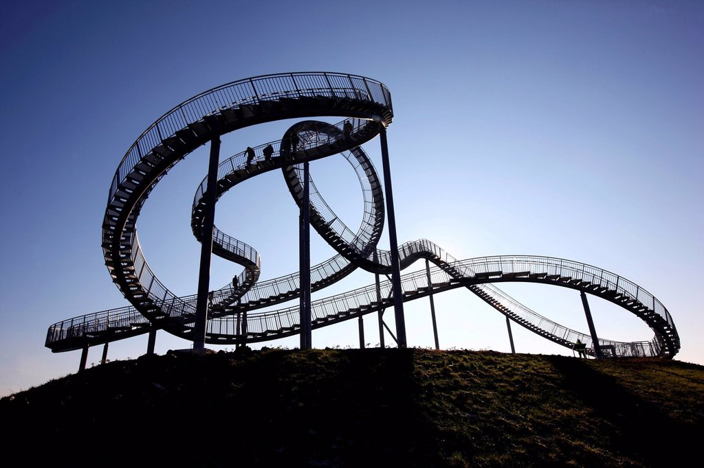 Tiger & Turtle – Magic Mountain, a walkable landmark sculpture in the shape of a roller coaster, by Heike Mutter and Ulrich Genth, on Heinrich_Hildebrand_Hoehe, mining waste tip, Angerpark, Duisburg, North Rhine_Westphalia, Germany, Europe : Stock Photo