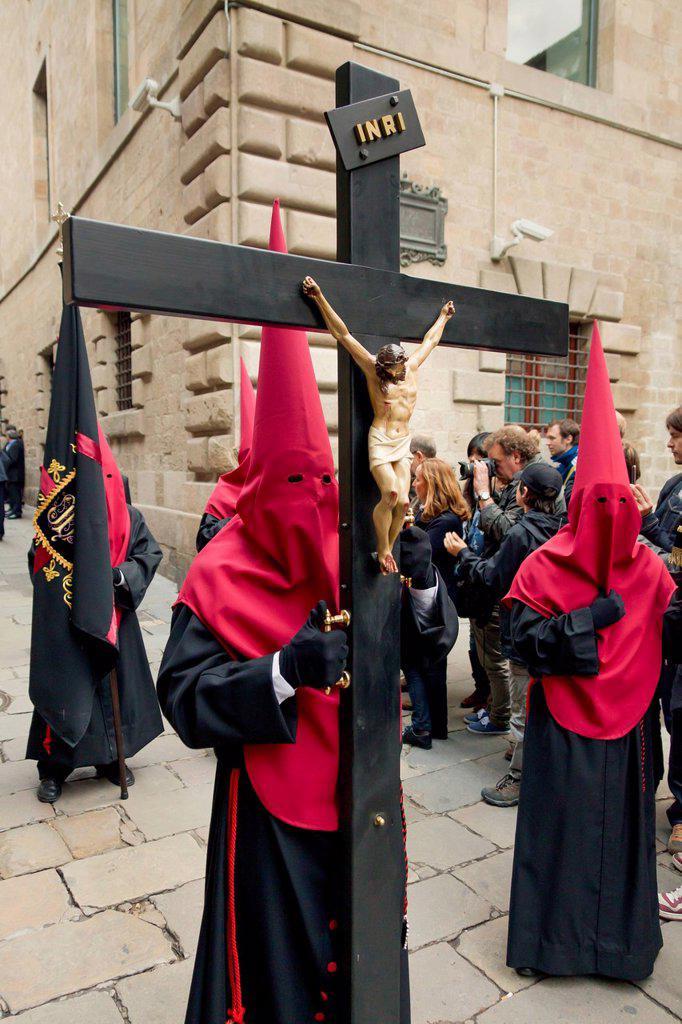 Penitents with crosses at the Good Friday procession, Semana Santa, Holy Week, Barcelona, Catalonia, Spain, Europe : Stock Photo