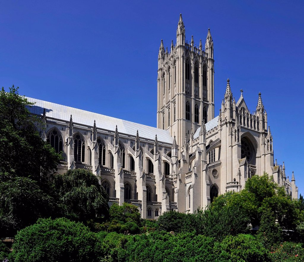 Neogothic tower of the cathedral seen from the Bishop´s Garden, Washington National Cathedral or Cathedral Church of Saint Peter and Saint Paul in the diocese of Washington, Washington, DC, District of Columbia, United States of America, PublicGround : Stock Photo