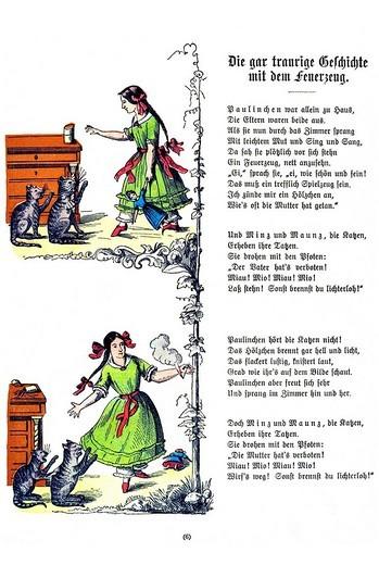 Book illustration, Die gar traurige Geschichte mit dem Feuerzeug, The Dreadful Story of Pauline and the Matches, Der Struwwelpeter, Shaggy Peter, Dr. Heinrich Hoffmann, 1876 : Stock Photo