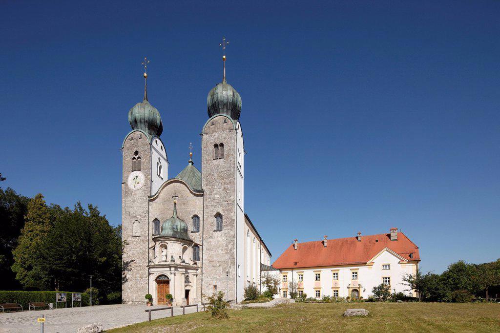 Monastery Church of St. Margaret, Baumburg Abbey, Altenmarkt, Chiemgau, Upper Bavaria, Bavaria, Germany, Europe : Stock Photo