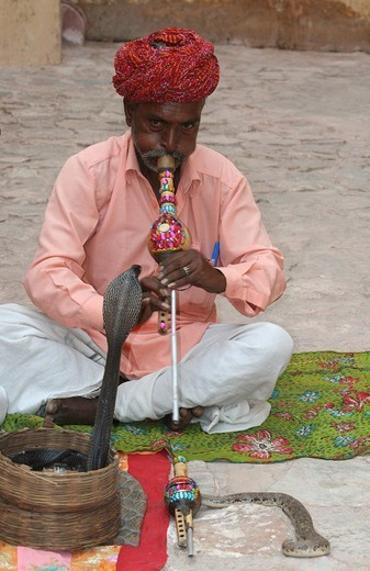 Stock Photo: 1848-70765 Snake charmer with a cobra, Fort Amber, Jaipur, India, South Asia