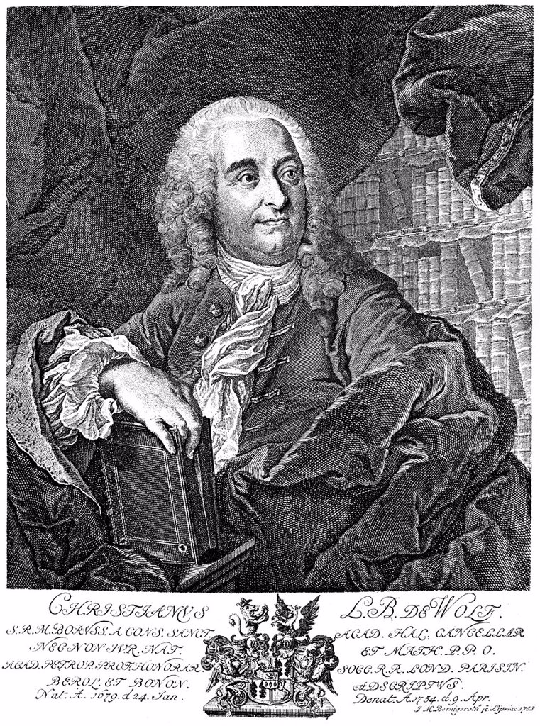 Historical engraving, 19th century, portrait of Christian Freiherr von Wolff or Chrétien Wolf, 1679 _ 1754, German polymath, lawyer, mathematician and philosopher of the Enlightenment : Stock Photo