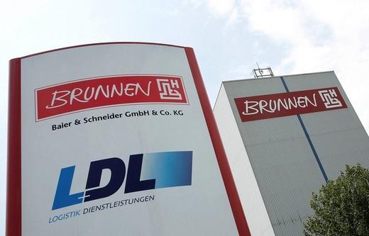 Warehouse for high_rise racks of the Brunnen office equipment company, Baier und Schneider GmbH und Co. KG, in Heilbronn, Baden_Wuerttemberg, Germany, Europe : Stock Photo