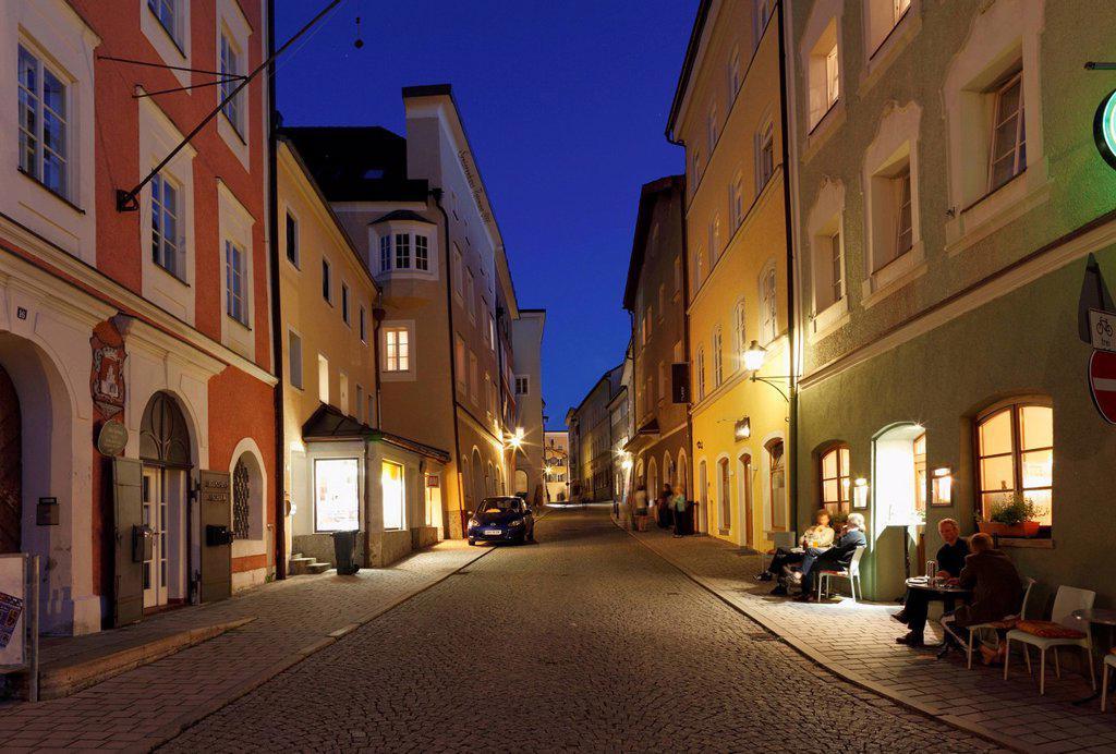Stock Photo: 1848-707913 Rottmayrstrasse in the evening, Laufen an der Salzach, Rupertiwinkel, Upper Bavaria, Bavaria, Germany, Europe, PublicGround