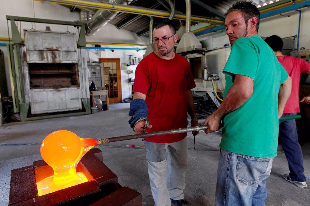 Stock Photo: 1848-708033 Giancarlo Signoretto and Mario Pancera, Pino Signoretto famous glass factory, Murano, Venice, UNESCO World Heritage Site, Venetia, Italy, Europe