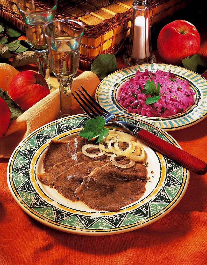 Beef with beetroot salad, Russia, recipe available for a fee : Stock Photo