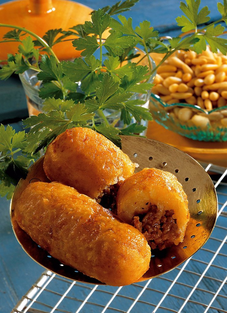 Jerusalem meat rolls, spicy minced meat surrounded by a dough of potatoes and flour with a hint of nutmeg, Israel, recipe available for a fee : Stock Photo
