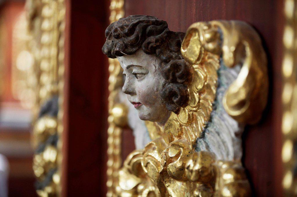 Angel in the abbey church, Schloss Corvey castle, former abbey, Hoexter, Weserbergland region, North Rhine_Westphalia, Germany, Europe : Stock Photo