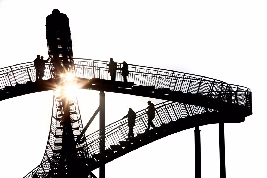 Stock Photo: 1848-708765 Tiger & Turtle – Magic Mountain, a walkable landmark sculpture in the shape of a roller coaster, by Heike Mutter and Ulrich Genth, on Heinrich_Hildebrand_Hoehe, mining waste tip, Angerpark, Duisburg, North Rhine_Westphalia, Germany, Europe
