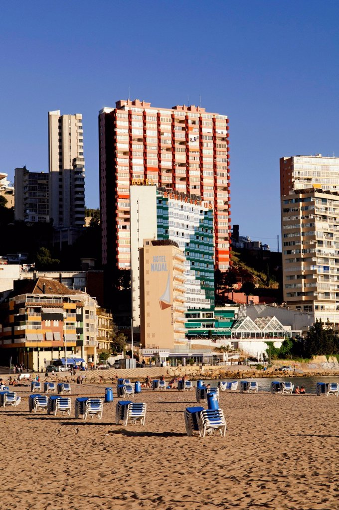 Stock Photo: 1848-708894 High_rise buildings on Playa Levante beach, Benidorm, Spain, Europe