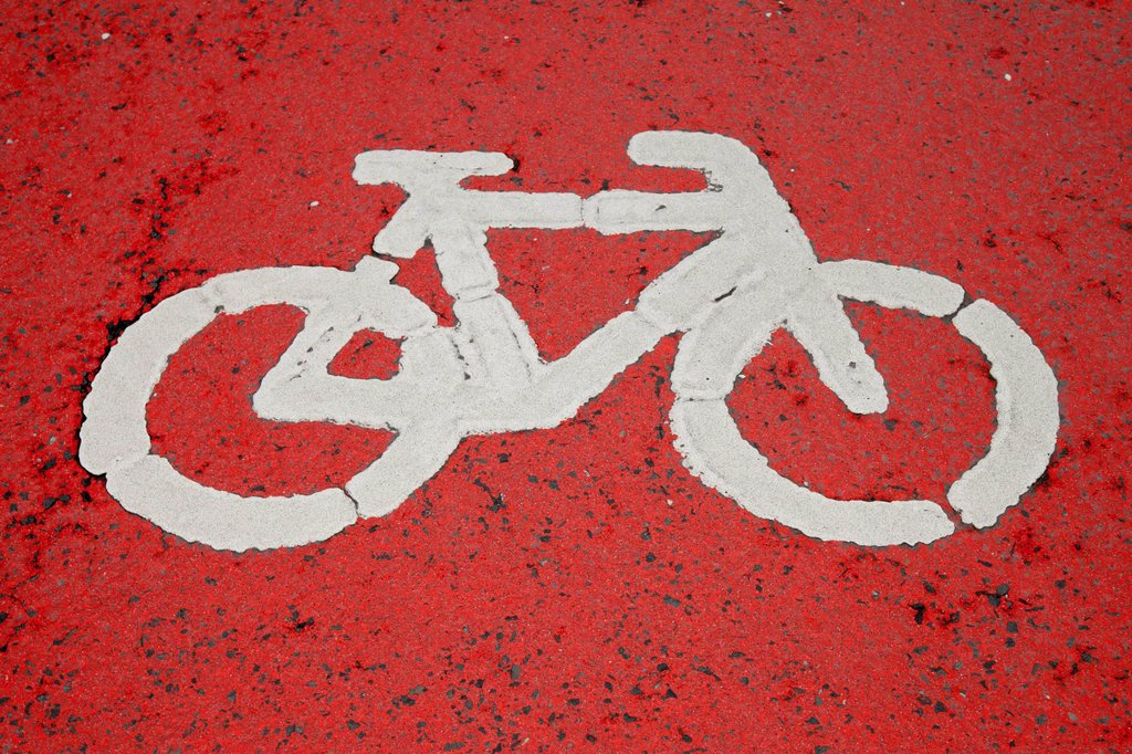 Stock Photo: 1848-708944 Pictogram, bicycle path, Unna, Ruhr Area, North Rhine_Westphalia, Germany, Europe, PublicGround